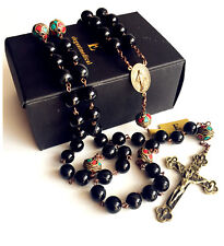 Antiqued XL 10MM BLACK AGATE BEAD & Copper BEADS CATHOLIC ROSARY NECKLACE CROSS