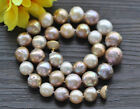 """Z10109 18"""" 15mm Peacock-Lavender Round Edison KESHI Pearl Necklace Magnet"""