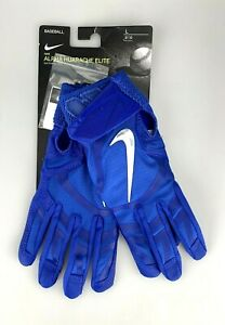 Nike Alpha Huarache Elite Baseball Batting Gloves Unisex Size L Leather Blue New