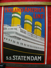 "Vintage ART DECO Travel Poster HOLLAND-AMERIKA LINE 22 X 15"" Beautiful"