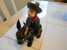 """Vintage Donkey Figurine With Mexican Rider-Very Good 5"""" X 4"""" X 2"""""""