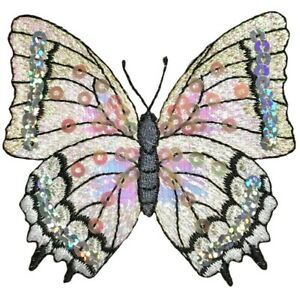 """Butterfly Applique Patch - Sequin, White Insect Badge 3-1/8"""" (Iron on)"""