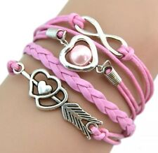 New Infinity Love Arrow Heart Charm Pink Leather Bracelet Great Gift Ships Fast