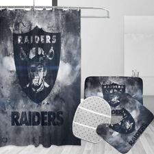 Las Vegas Raiders Bathroom Rugs Set 4Pc Shower Curtain Bath Mat Toilet Lid Cover