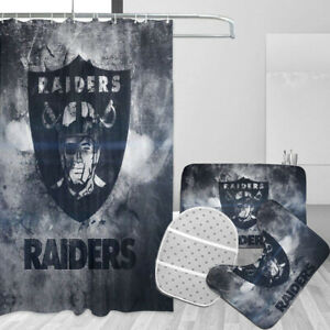 Las Vegas Raiders Bathroom Rugs Set 4PC Shower Curtain Bath Mat Toilet Lid Cover