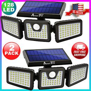 2Pack Solar Security Lights Outdoor 800LM LED Motion Sensor IP65 Waterproof