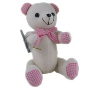 *NEW* AUTOGRAPH SIGNING GINGHAM PINK JOINTED BEAR SCHOOL UNI COLLEGE TOY 38cm