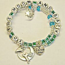 HANDMADE I LOVE YOU TO THE MOON AND BACK CHARM BRACELET baby shower GIFT BOOK