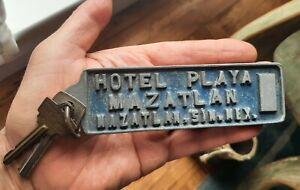 Vintage Key Fob Hotel Playa Mazatlan 6 Inch Embossed Metal Fob with Keys