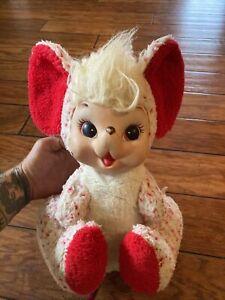 "Vintage Rushton Co Rubber Face Mouse Plush Stuffed Animal Red White 14"""