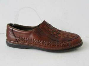 RIEKER Men's Tan Brown Leather Slip On Woven Perforated Shoes Size 45 UK 10.5