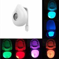 8-Colors Auto LED Bathroom WC Motion Sensor Toilet Bowl Night Light New
