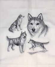 HUSKY COLLAGE SKETCH - LARGE DESIGN - EMBROIDERED ON WHITE KITCHEN TOWEL