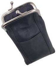 Gray Leather Holder Lighter Pocket Clasp Open Soft Cigarette Case Men Women