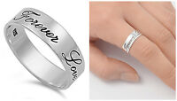 "Sterling Silver 925 ""FOREVER LOVE"" DESIGN PROMISE ENGAGEMENT RING 6MM SIZES 5-13"