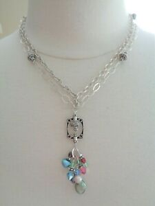 Sterling 925 Stamped, Two Strands Link Necklace Glass Beads and Pearls Pendant.