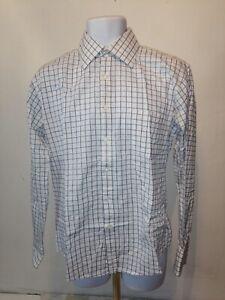 Authentic Original Ben Sherman Shirt In White Blue Check Size Medium # E11