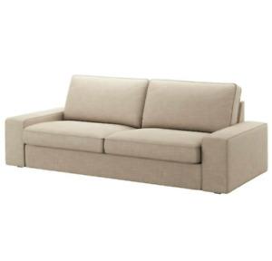 """NIP IKEA KIVIK XL Hillared Beige 3.5 Seat Sofa 98 3/8"""" Slipcover COVER ONLY NEW!"""