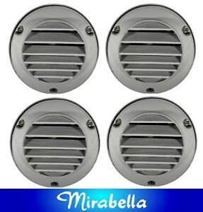 4 x 95mm Round Wall & Step Wall Washer Lights with Grille Silver - 12V 20W G4