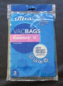Kenmore U Vacuum Bags ~ Ultra Care Pack of 3 Bags ~ Ultra Allergen Filtration