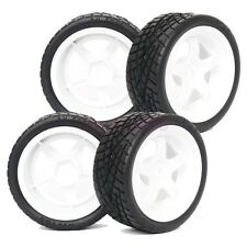 4PCS RC 1:10 On-Road Car Foam Rubber Tyre Tires & Wheel Rim white 6034-8001