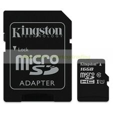 Kingston Micro SD HC 16GB 16G Class 10 C10 U1 UHS1 Memory Card with Adapter