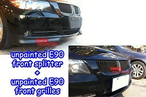 Unpainted BMW 05~08 E90 3-series sedan OEM type front splitter + front grilles ◎