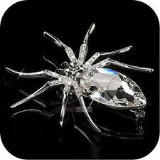 18K WHITE GOLD GP MADE WITH SWAROVSKI CRYSTAL LUXURY SPIDER BROOCH