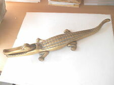 LARGE VINTAGE HEAVY BRASS CROCODILE NUT CRACKERS OR DESK TOP PAPER WEIGHT
