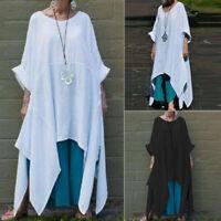 ZANZEA Women's Batwing Shirt Tops Waterfall Asymmetrical Mini Dress Shirt Dress