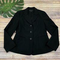 Lafayette 148 Womens Blazer Jacket Size 8 Solid Black Wool Blend Career Office