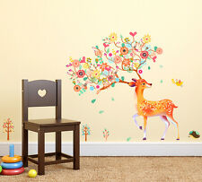 6900096 | Wall Stickers Beautiful Ornamental Deer With Colorful Flowers