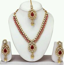 Indian Bollywood GOLD PLATED DIAMOND&KUNDAN NECKLACE EARINGS TIKA JEWELLERY SET