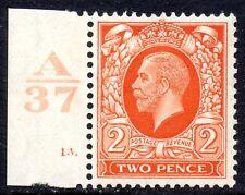 """1934 SG 442c 2d Naranja Con Hojas en Venta Variedad """"retocadas"""" de filas de 18/1 mm"""