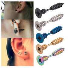 Fashion Men Women Stainless Steel Cross Screw Stud Tapers Earrings Jewelry Gift