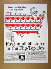 1959 Marlboro Red Flip-Top Box us united states map art vintage print Ad