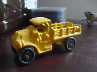 Vintage 1940s Cast Metal Yellow Stake Bed Truck LOOK