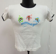 THE POWERPUFF GIRLS LARGE YOUTH SHIRT GIRL BLOSSOM BUBBLES BUTTERCUP PPG WHITE