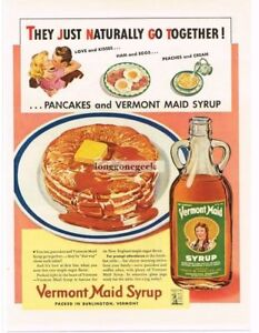 1942 Vermont Maid Syrup & Pancakes Naturally Go Together art Vintage Ad