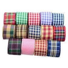 15pcs Polyester Plaid Stripes Ribbons for DIY Clothing Hair Bow 1 Yard Each