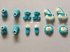 12 x Edible Boy Cake Decoration Mini Cupcake Toppers Christening Baby Shower Boy