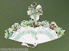 Victorian Paper Fan Birds in a Parasol Greeting Card Old Print Factory