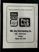 "Coors McDoy Distributing Greeley Regional 1974 UNC Original Print Ad 8.5 x 11"""
