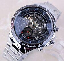 Watch Men Luxury Skeleton Mechanical Dial Wrist Black Automatic Steel Stainless