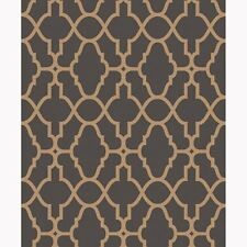 BLACK / COPPER CASABLANCA TRELLIS FRETWORK WALLPAPER - RASCH 309331