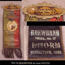 1890-1910 Improved Order Redmen Medal Ribbon Arawanna Tribe No 17 Middletown CT