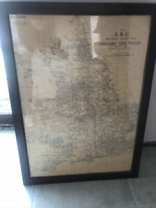 """Large Antique ABC Railway Guide Map 1930s 30"""" X22"""" Framed British Rail"""