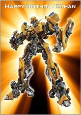 Transformers Bumblebee CARTE D'ANNIVERSAIRE A5 Personnalisé avec ses propres mots