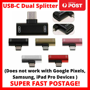 2 in 1 Dual USB-C Type C Splitter Adapter to Headphone and Charger Split Android