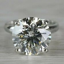 10Ct Round Cut White Moissanite Wedding Engagement Ring In Solid 14k white Gold